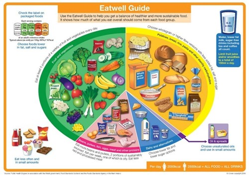 The Eatwell guide representing portion sizes of each food group
